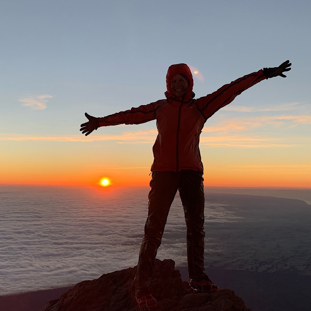 Sunrise on the first day of 2019 atop Mount Taranaki.