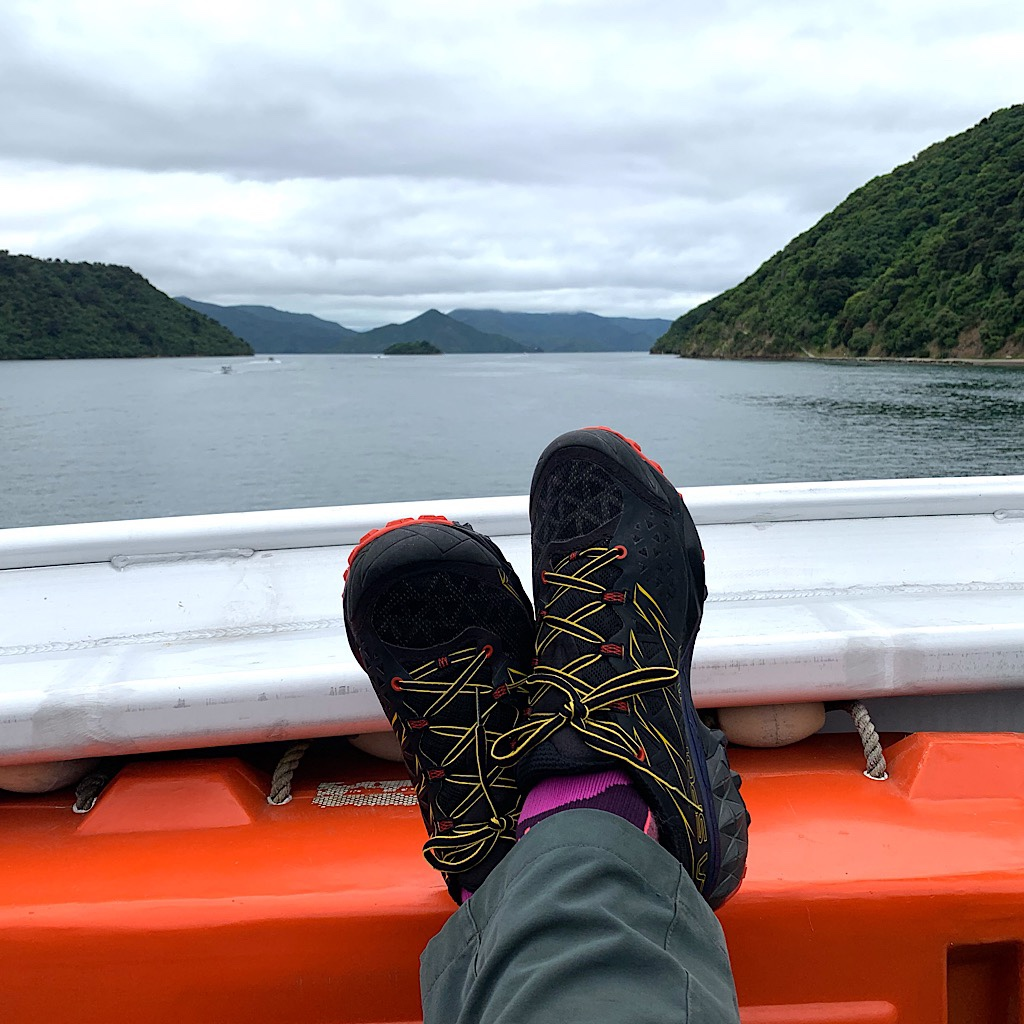 My brand new La Sportivas on the mail boat that took us from Picton to Shop Cove by way of many deliveries and non-stop announcing.