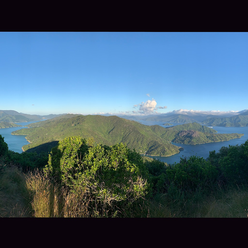 A panorama from my tent site at the lookout. There was a picnic table, a trig and one tiny flat spot for the alicoop.