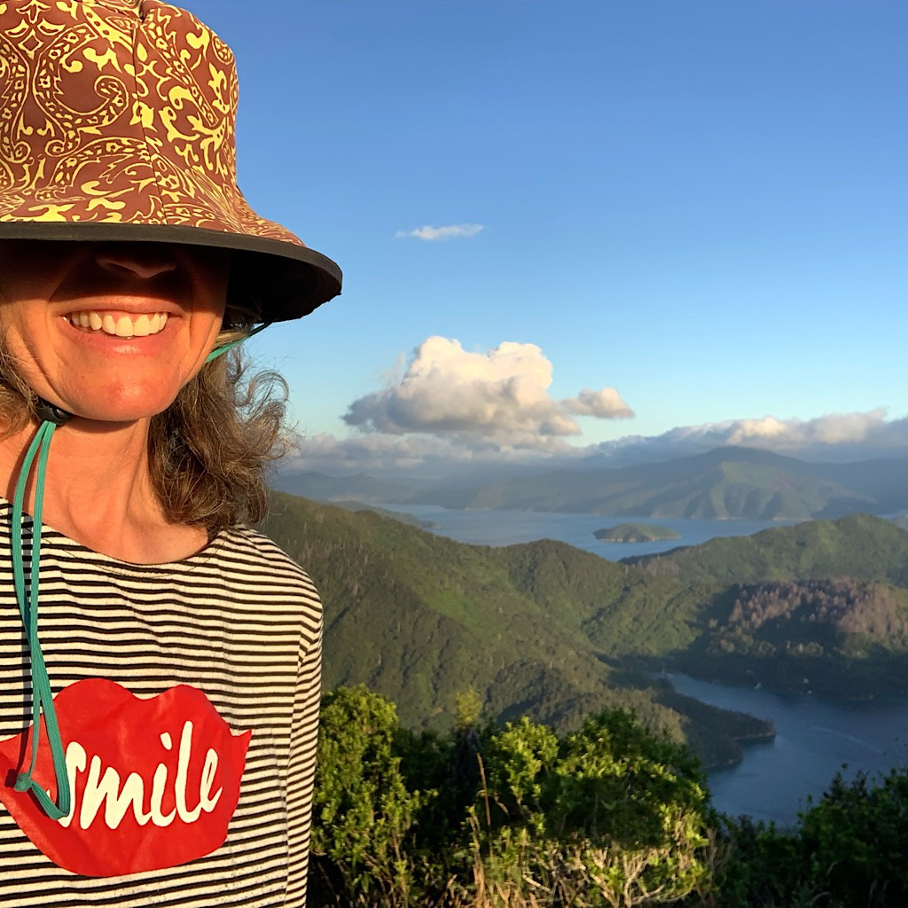 Hamming it up at the Onahau Lookout where Blissful set up camp for the night with one weka.