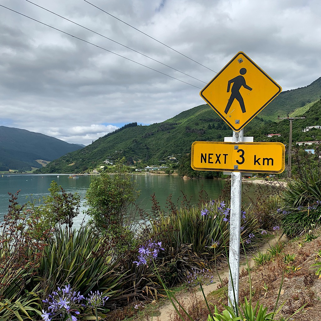 The ped sign near Anakiwa felt welcoming since Kiwi drivers rarely yield to walkers.