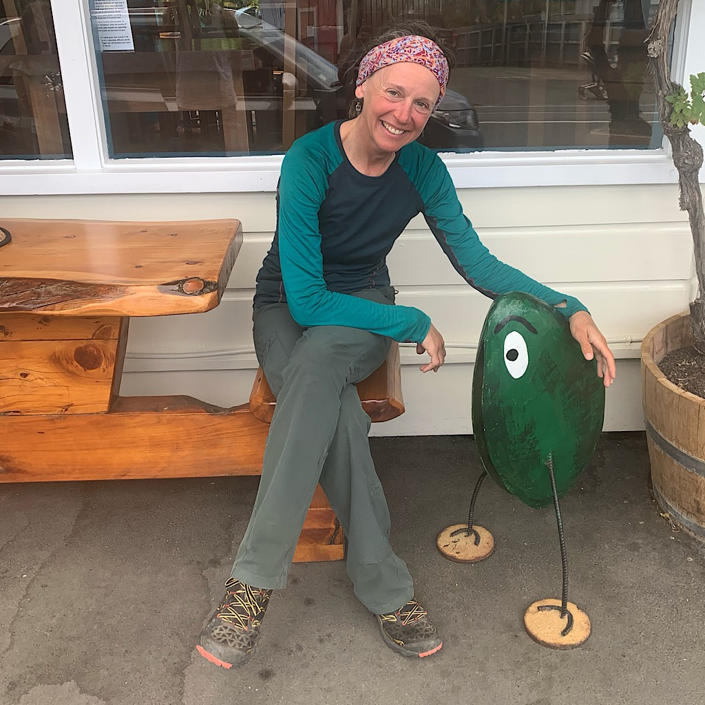 With the mussel character at the Mussel Pot in Havelock. I ate an entire pot meant for two!