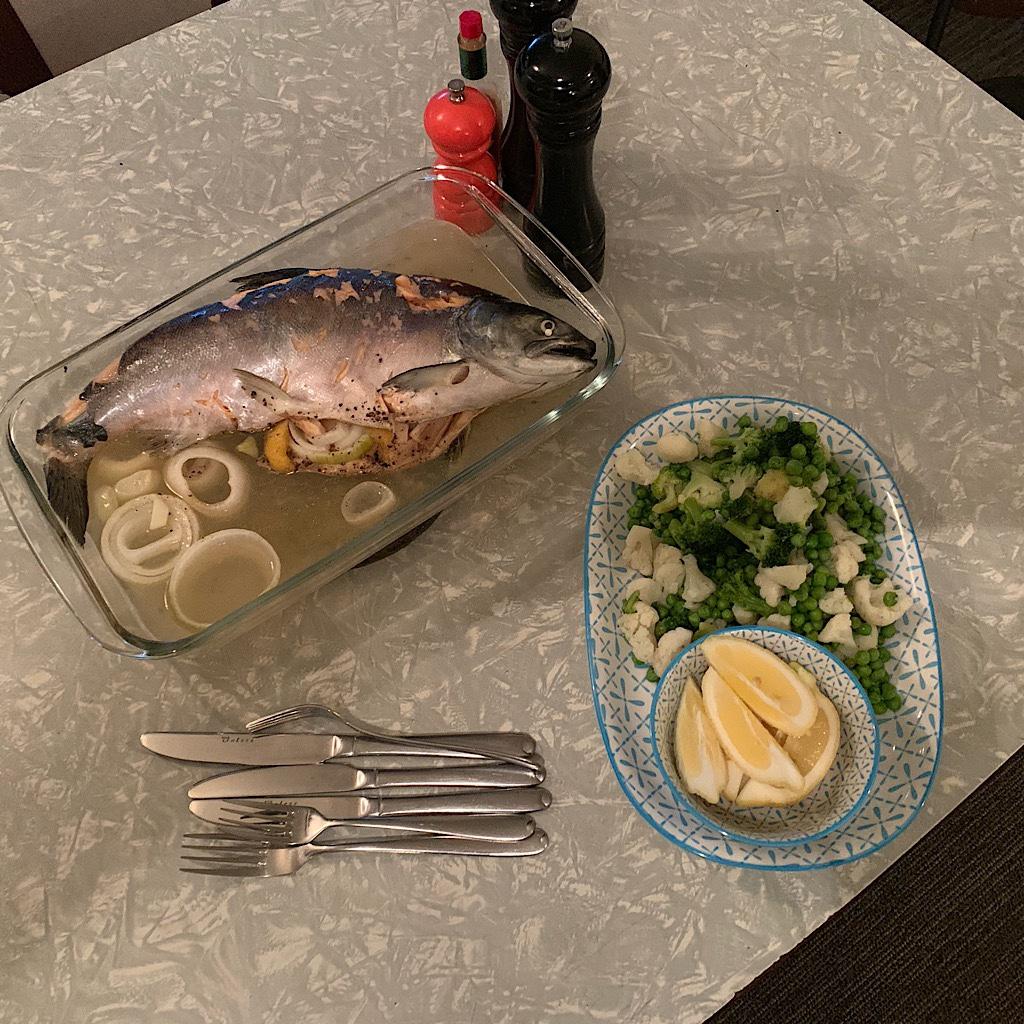 Dinner courtesy the local salmon farm.