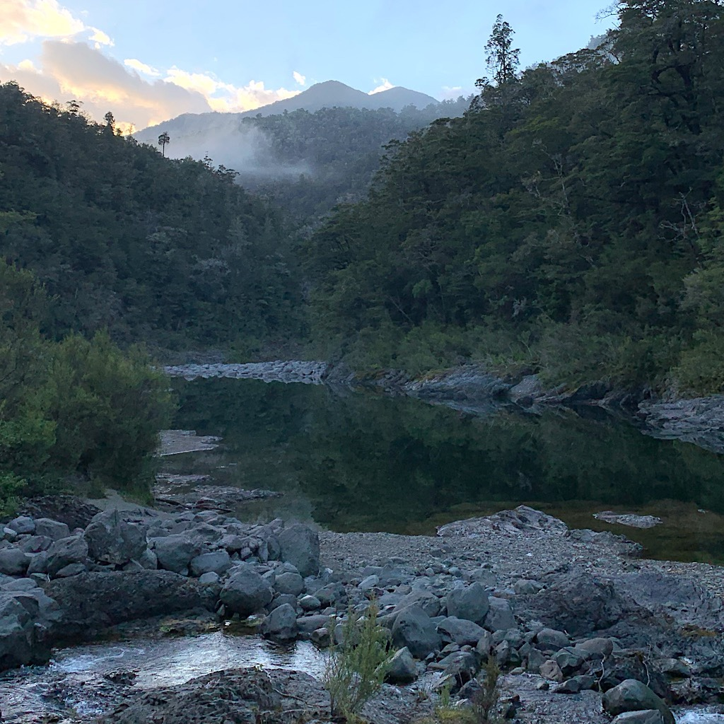 A misty morning along the Pelorus River before I climb steeply away up the Rocks Track.