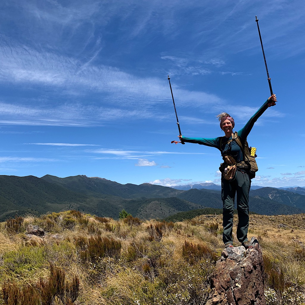 Finally out in the open at the Totara Saddle with the higher mountains coming into view of the Richmond Range.