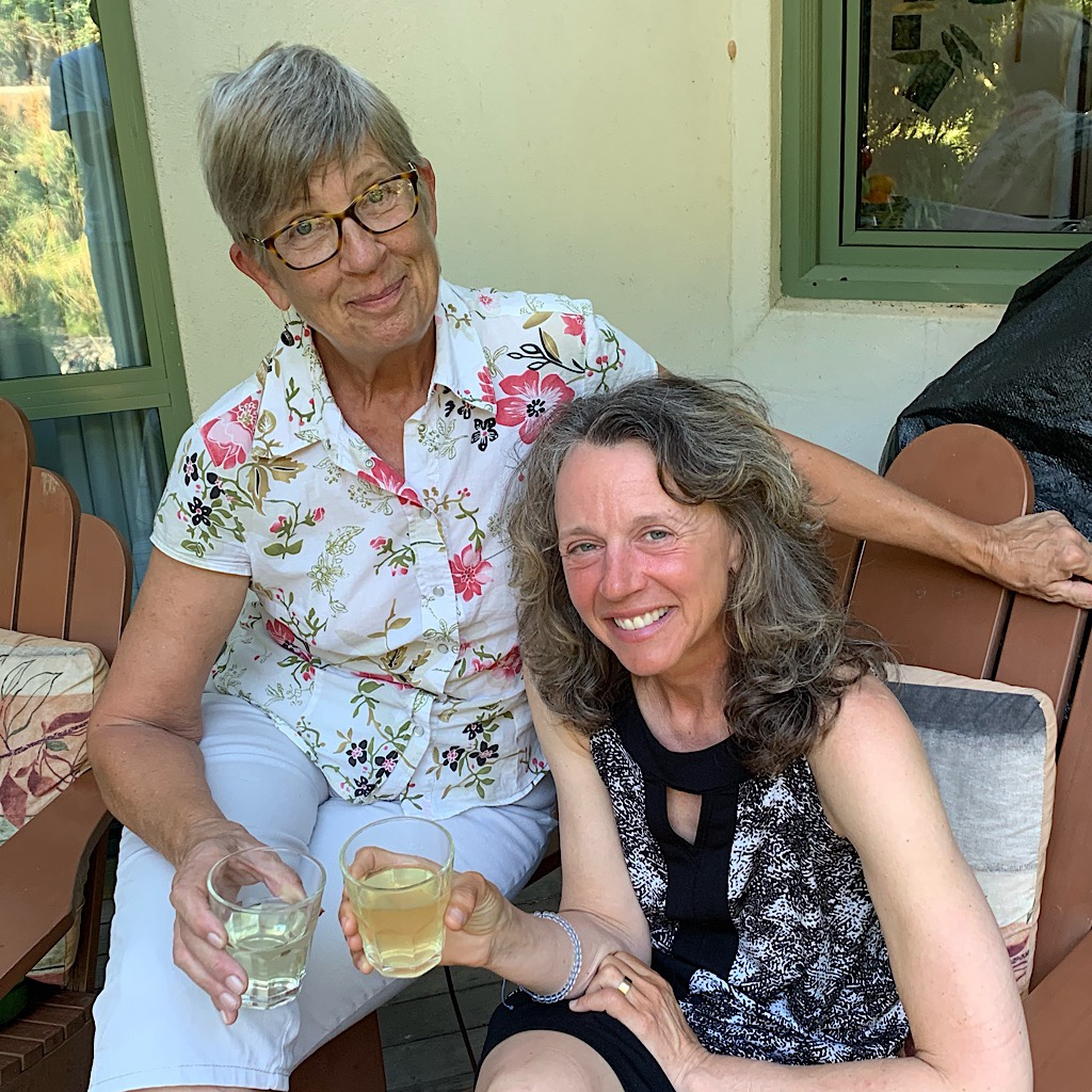 """Toasting """"la heim"""" with Maggie on the porch of her lovely home in Nelson."""