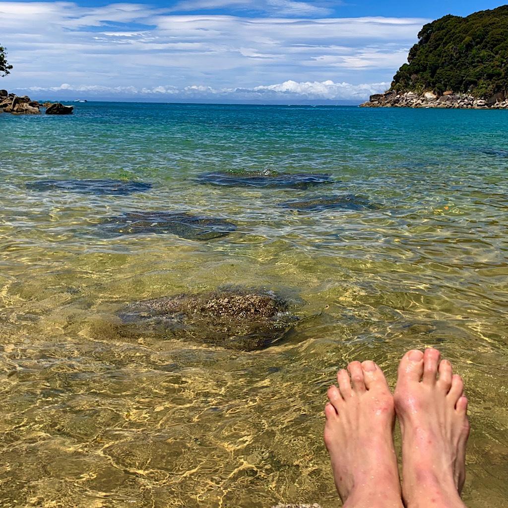 My sandfly bites appreciate the salt water at Abel Tasman Park.