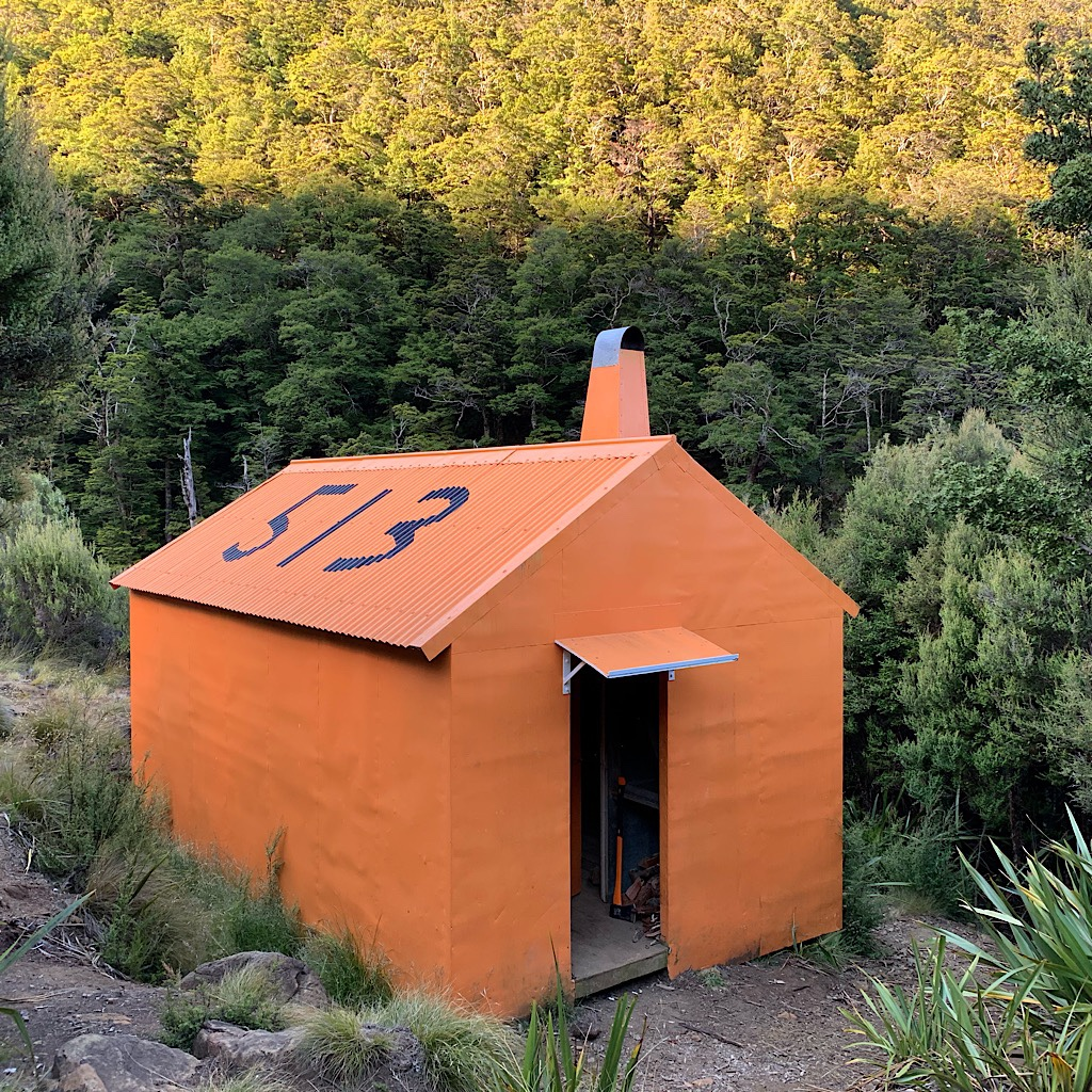The hut is painted orange and numbered so it can be seen from a helicopter.