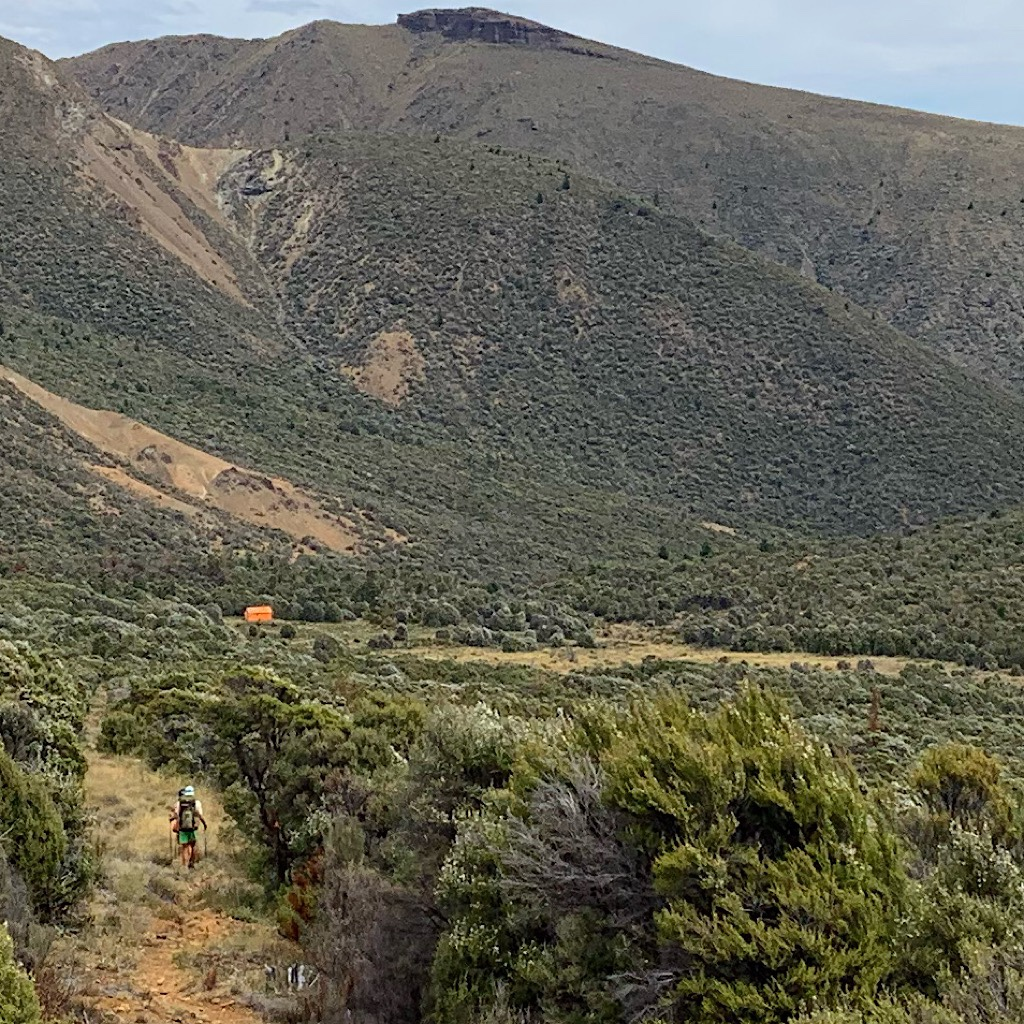 Working our way to Porters Hut in the arid Red Hills.