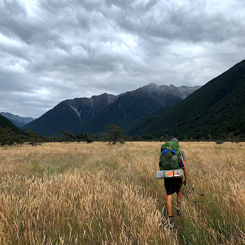 Catching up with Charley before John Tait Hut as the weather changed.