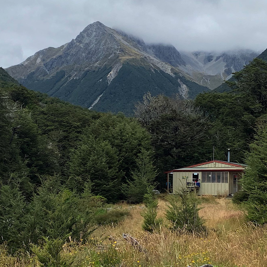 The hut is named for John Tait, a president of the Nelson Tramping Club who led the effort to build the first hut in this stunning location.