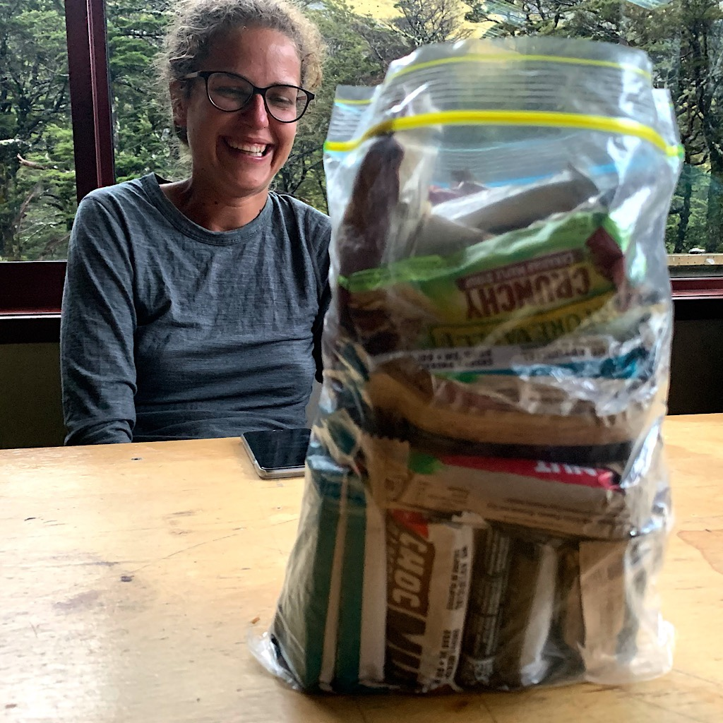 Kačka's giant bag of bars she carried in case she was trapped in the hut by bad weather.