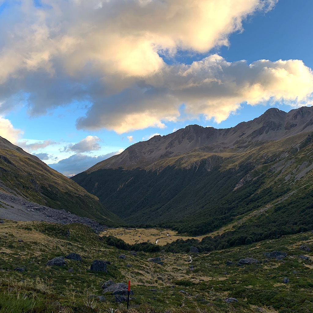 Looking down to the valley where Travers Hut is safely tucked in from the weather. It was clear, but very windy.