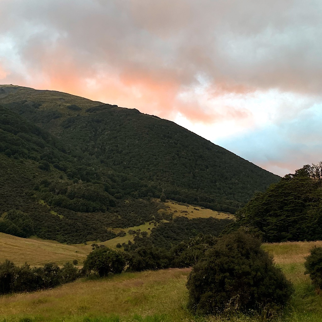 The hills are more gentle at Boyle Flat Hut. I was so happy to see clearing skies.