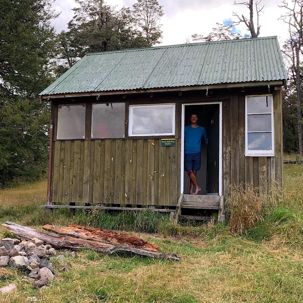 Tom at the hut before the massive rainstorm.