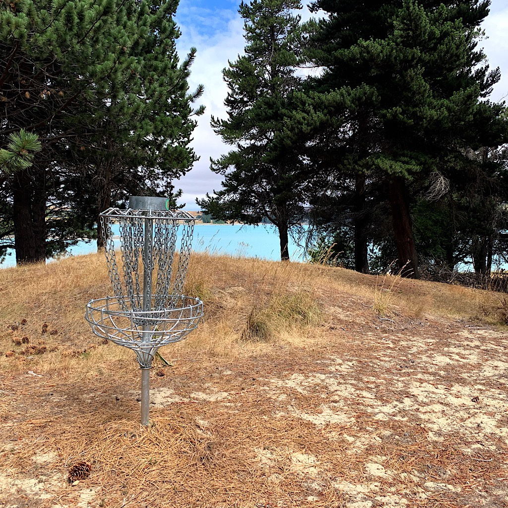A wee disc golf park along the shores of Lake Tekapo. Disc Golf is hugely popular in New Zealand.