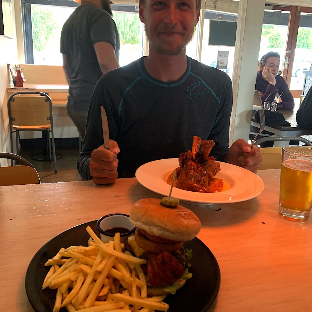 Tom finally gets his meal as a thank you for helping me manage the last sections.