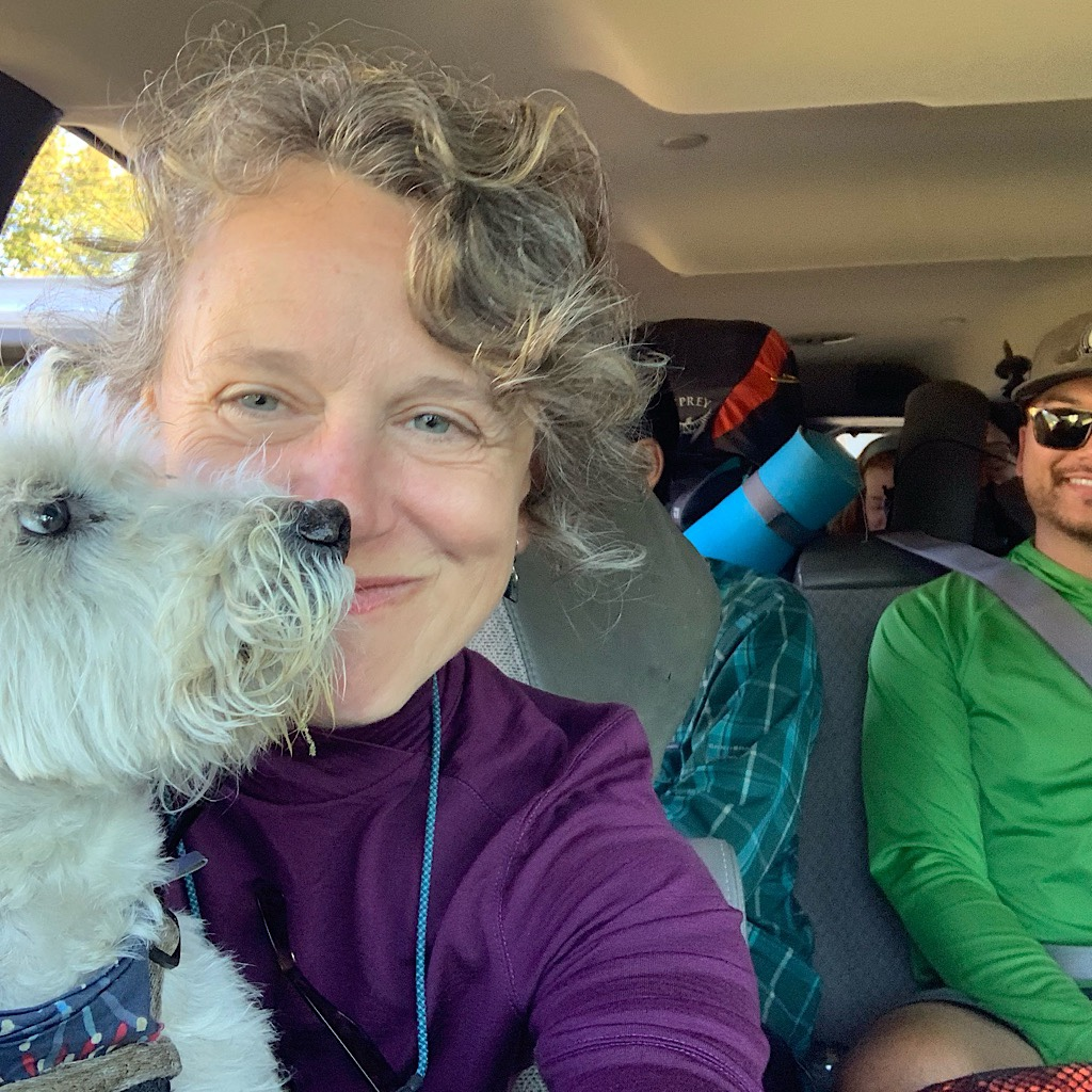 Crammed into a rented van with Trail Angel Katlyn driving.