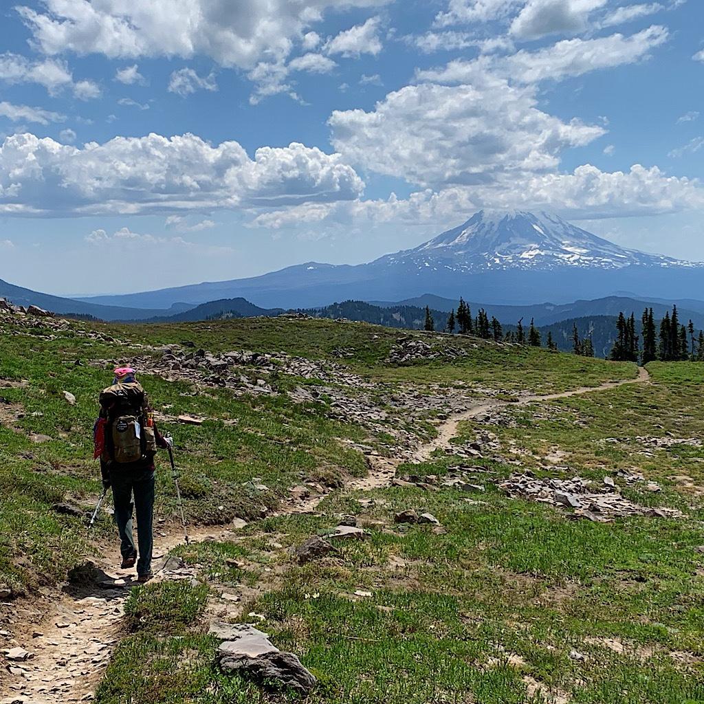 The Blissful Hiker heading towards Mount Hood.