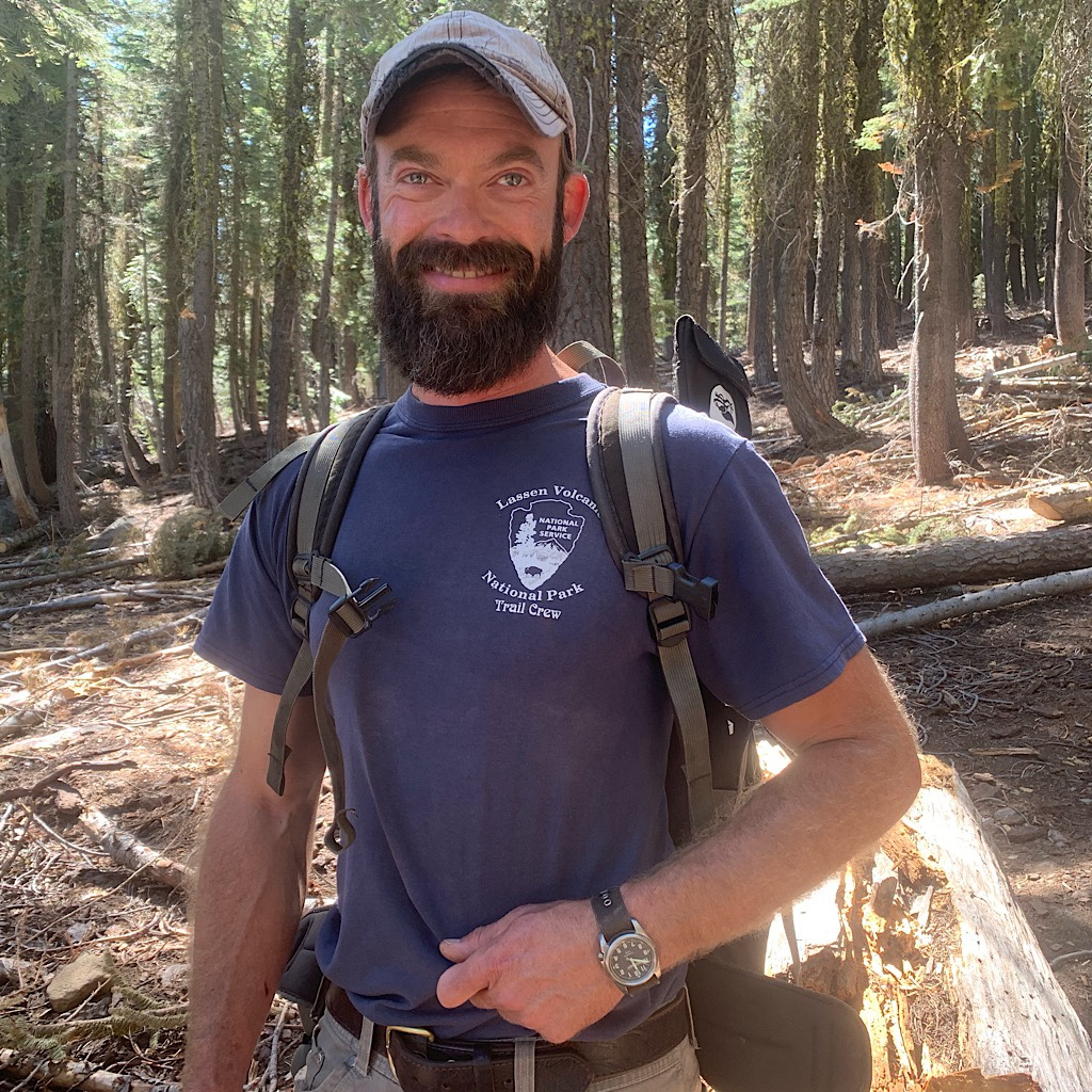Joshua was leading a crew building a firebreak on the Pacific Crest Trail through Lassen Volcanic National Park in Northern California.