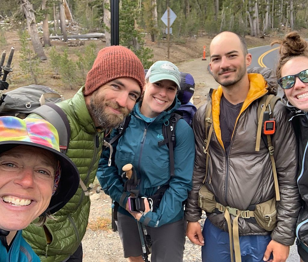 Us five hikers miraculously caught a ride down to Kennedy Meadows North before the storm hit.