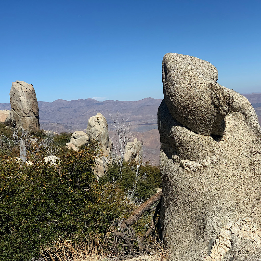 Whimsical rock formations on the climb high above the Southern California desert.