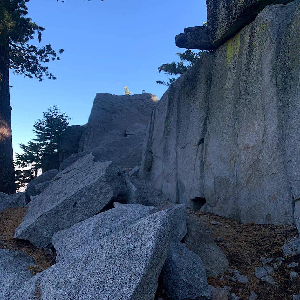 Shade next to cool granite blocks is a God-send.