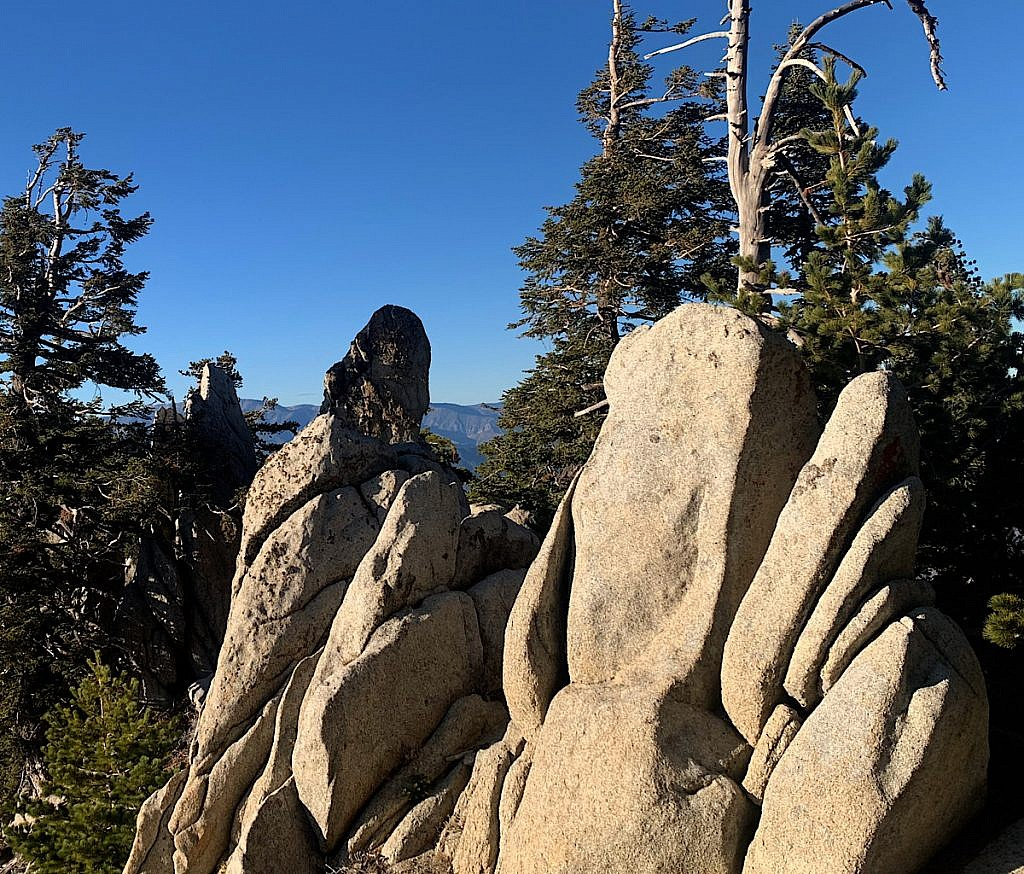 Rock erodes like sliced bread high up near the summit.