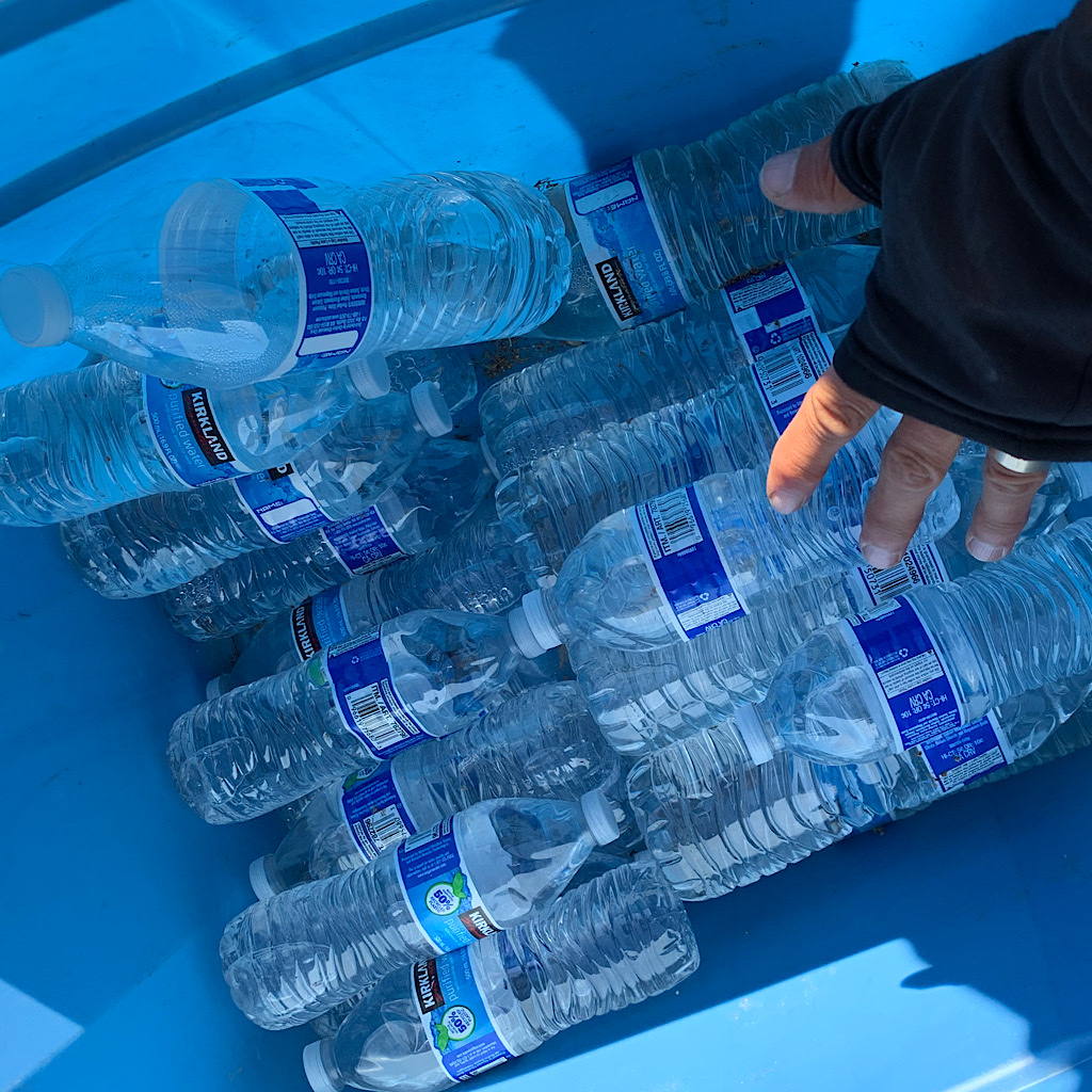 Trail Angels stashed an entire cooler of water stashed near Highway 74.