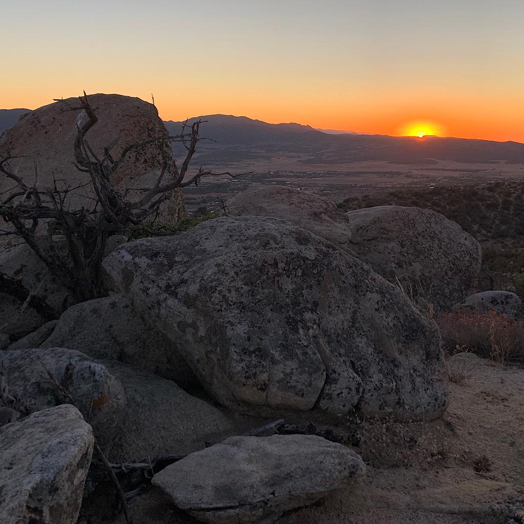 Sunset over Anza, California from a secret campsite.