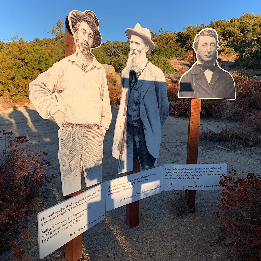 "Whitman, Muir and Thoreau look on as we fill our water bottles at ""Brooklyn Ferry,"" a trail angel oasis."