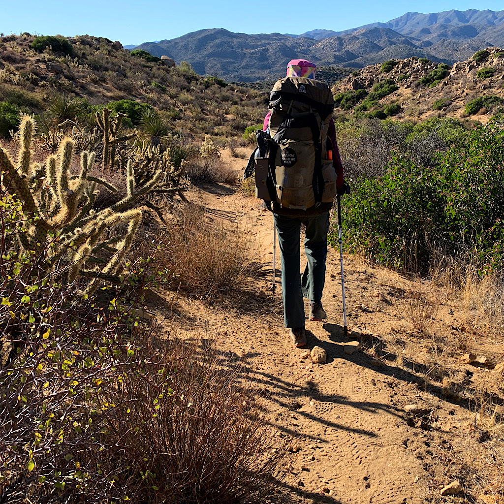 The PCT is wide enough in the desert to avoid the