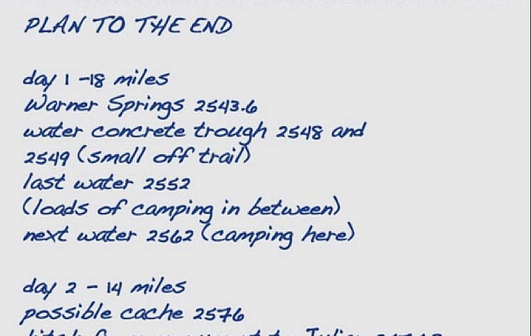 The plan for the final days to the end of the PCT.