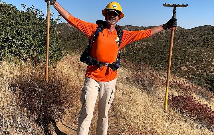 A happy trail worker on the desert section of the PCT.
