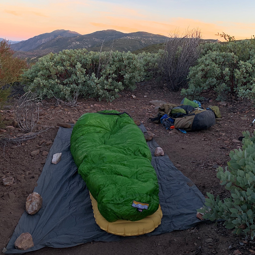 My final night alone on the PCT camping high above the desert in a sheltered spot.