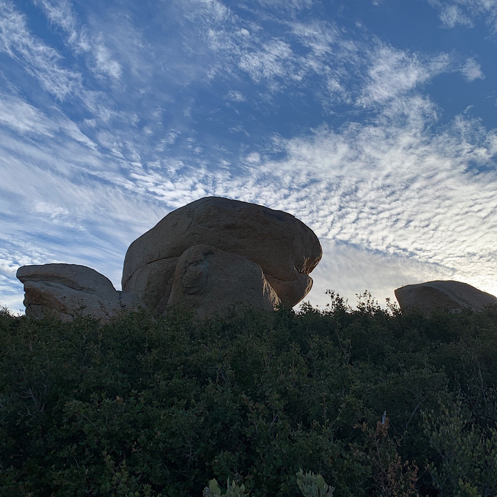 Oddly shaped rocks and clouds near Mount Laguna.