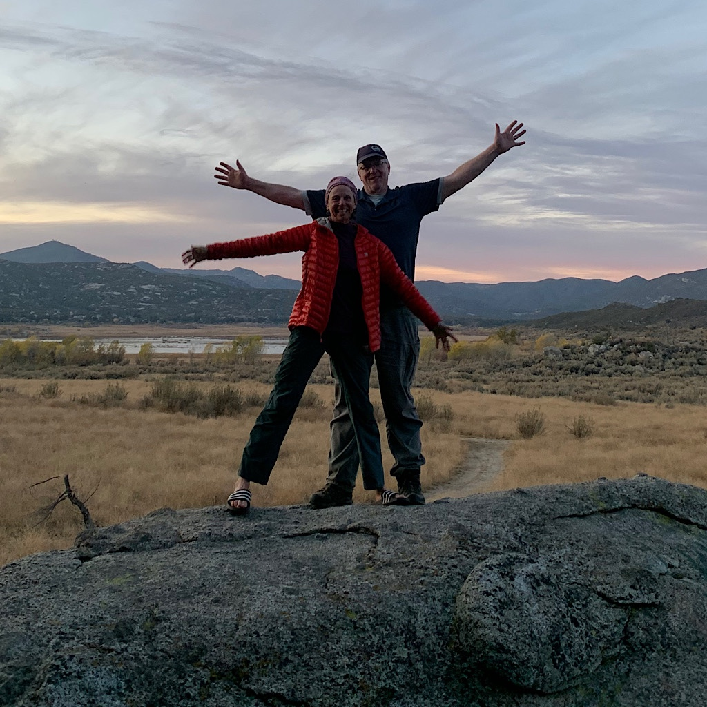 Richard and I pose at Lake Morena the final night of the PCT.