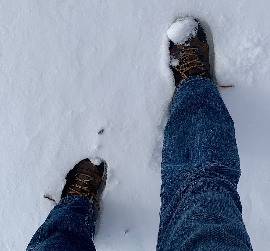 Boots in the snow.