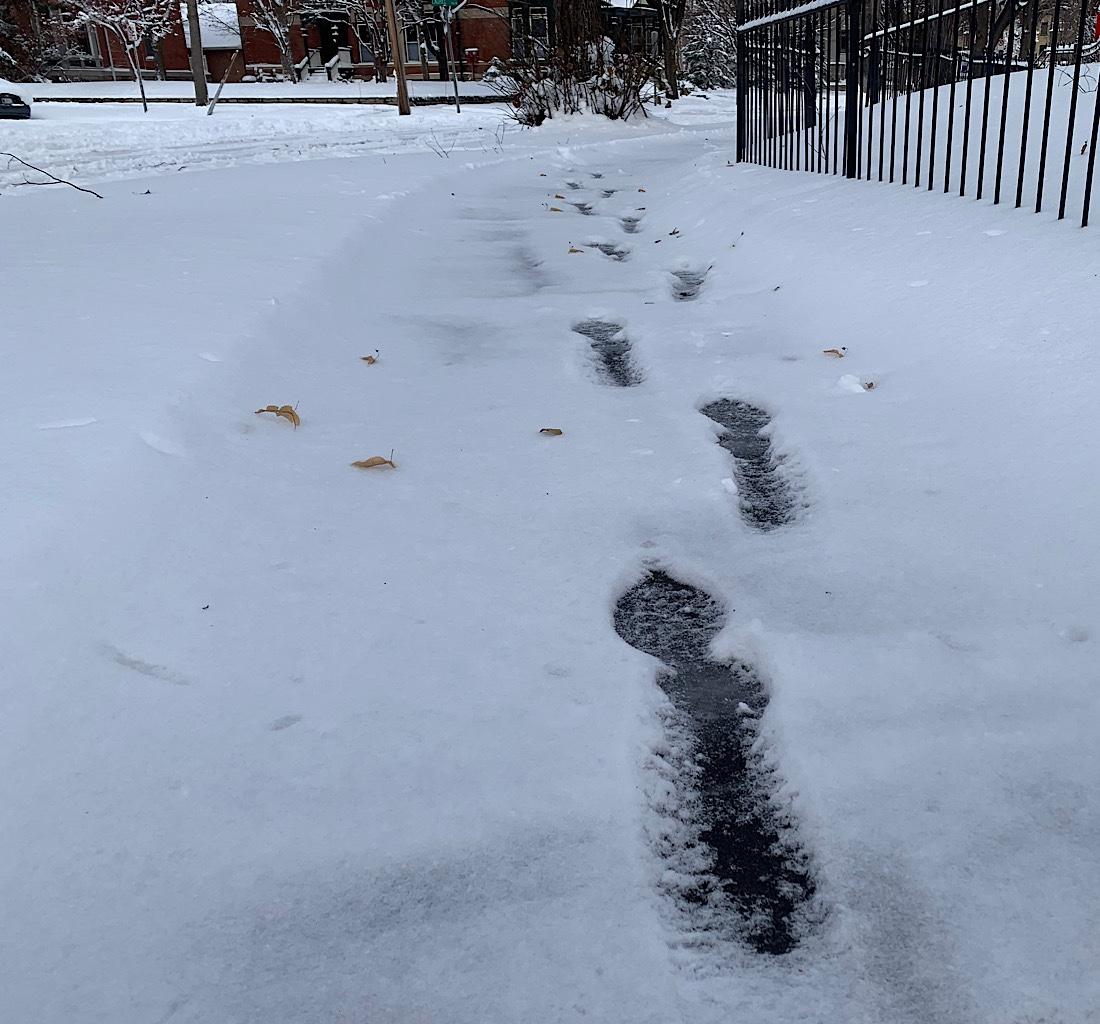 Footsteps leading ahead.