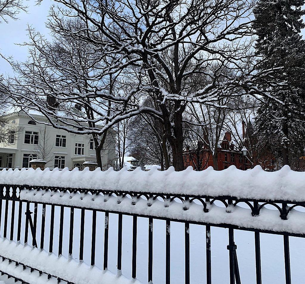 Fresh snow on Summit Avenue.