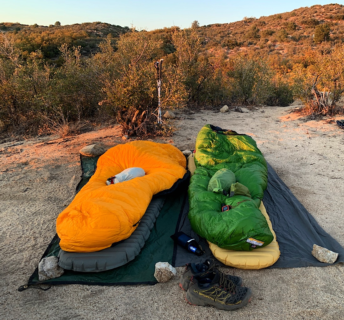 Cowgirl camping in the desert section of the PCT in Southern California.