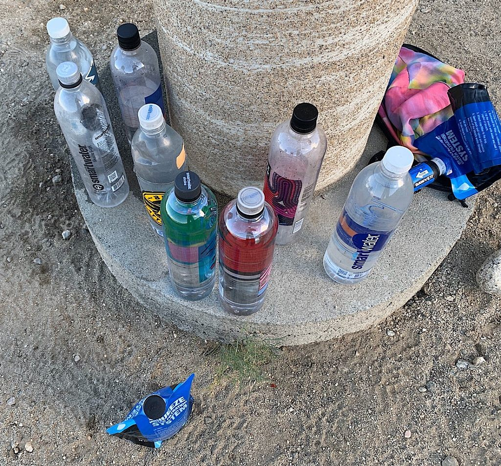 Filling bottles before a twenty mile waterless ascent of San Jacinto peak.