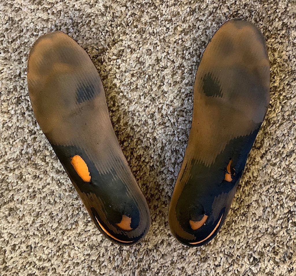 These Superfeet insoles used to be orange.