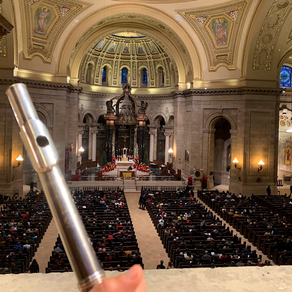 My flute peering down on the gathering congregation at the Cathedral of Saint Paul before playing Vivaldi for the 4:00 Mass.
