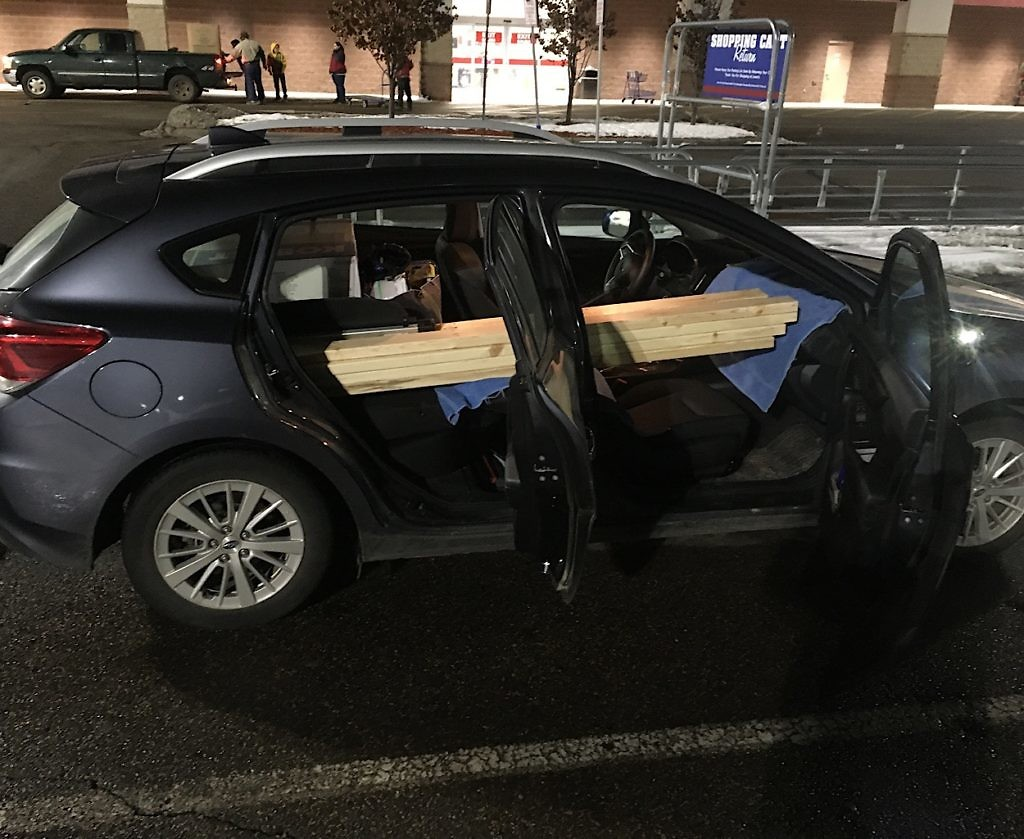 Our Subaru didn't cut it when carrying home 45 2x4's and 15 giant MDF boards.