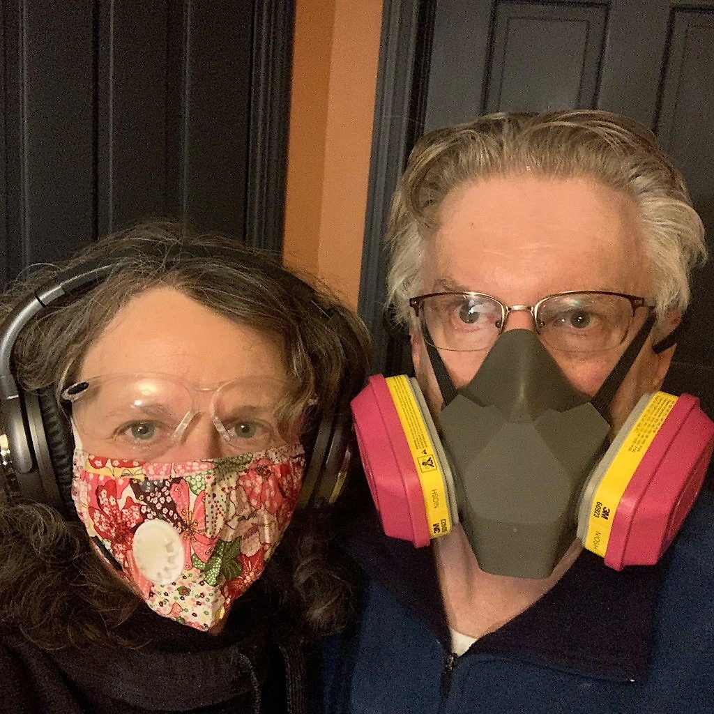 Masked builders of the Blisstudio.