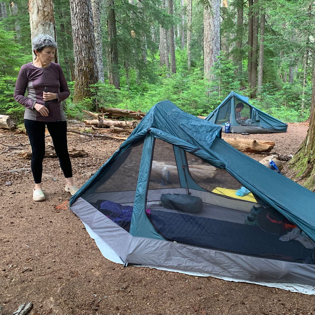 Judy met a guy with a much lighter tent while hiking the Appalachian Trail and it was a palace. That moment pissed her off, so she designed her own ultralight palace.