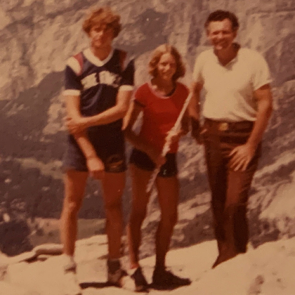 With my brother Andrew on the top of Half Dome. I lugged my flute up the chain ladders and played it on top.