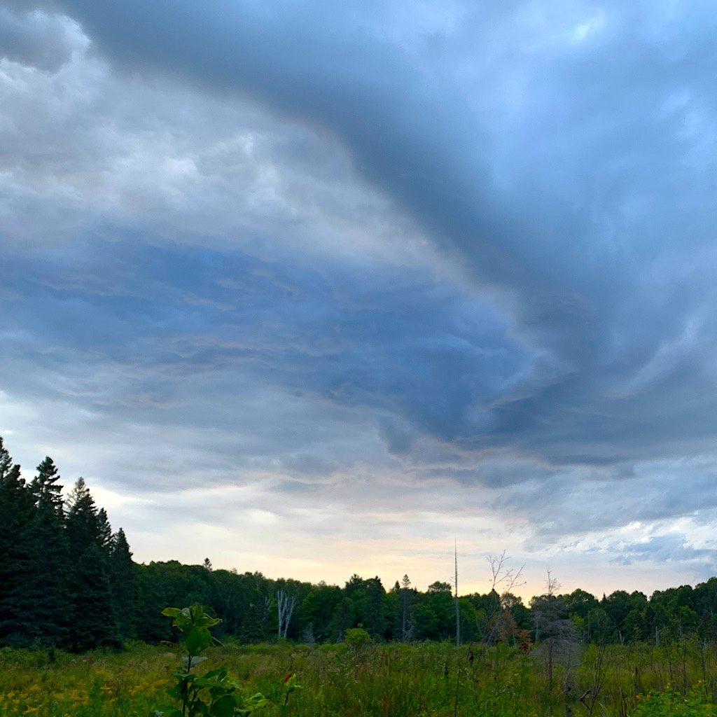 Cloud shapes above a bog.