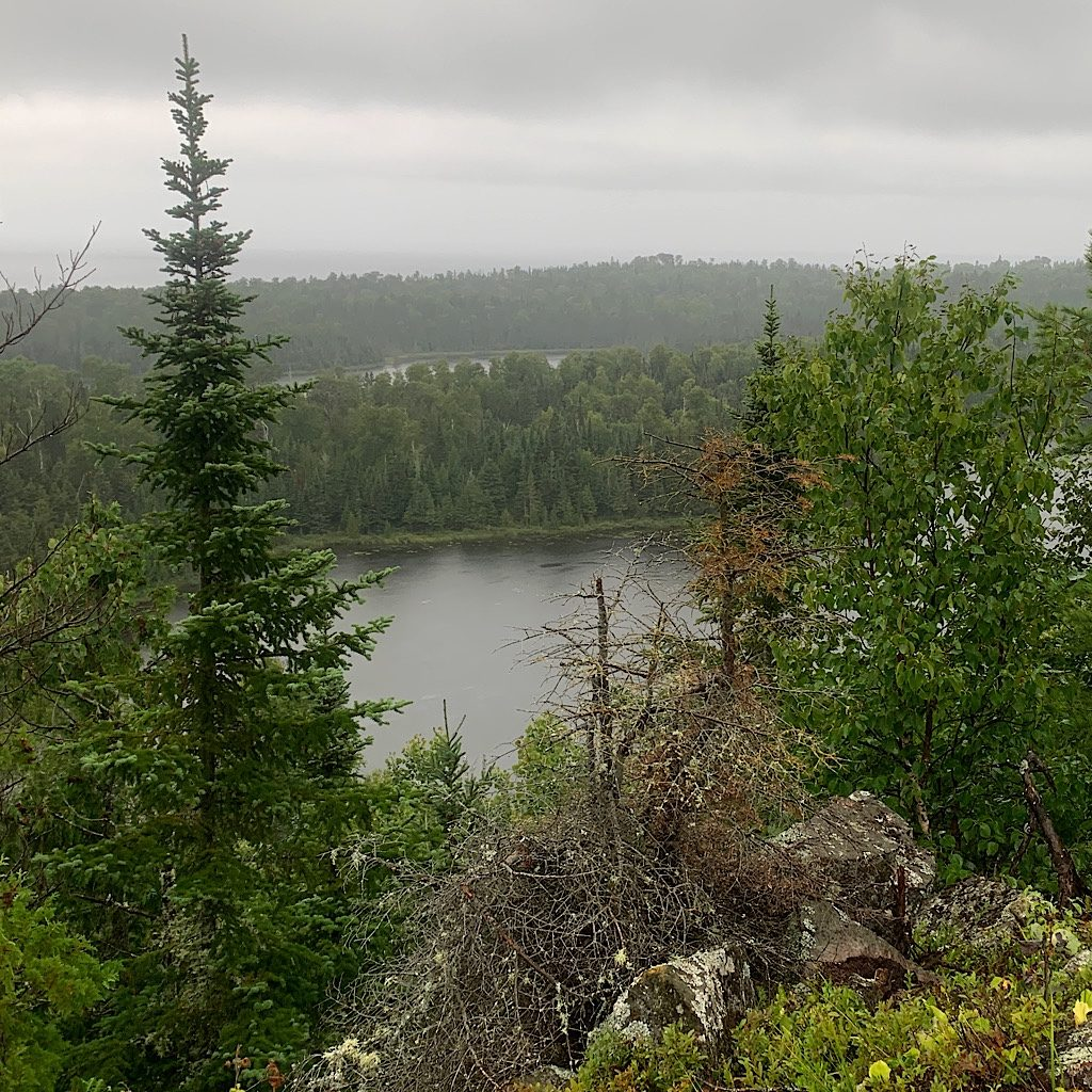 The rain stopped long enough for me to have some views from the ridge above Otter and Beaver Lake with the Lake Superior behind.